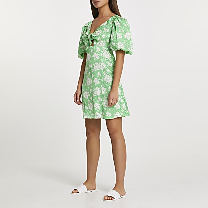 Green floral print tie front mini dress