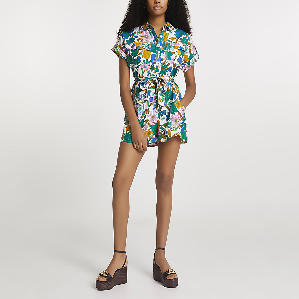Green floral printed utility playsuit