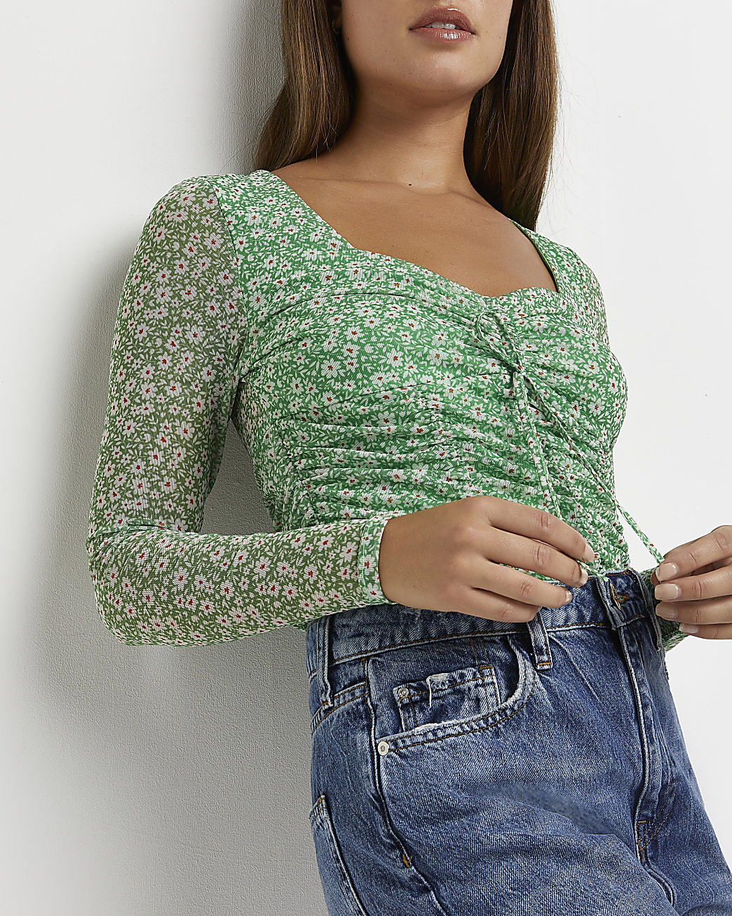 Green floral ruched top