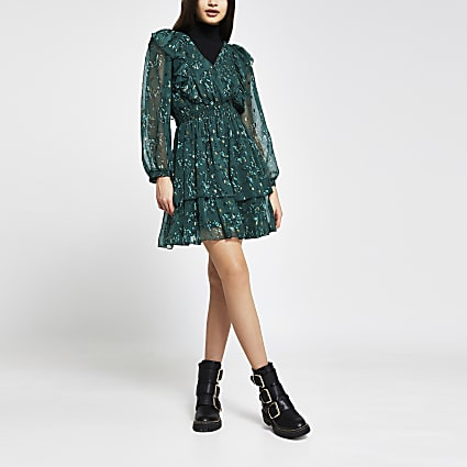 Green floral ruffle long sleeve mini dress
