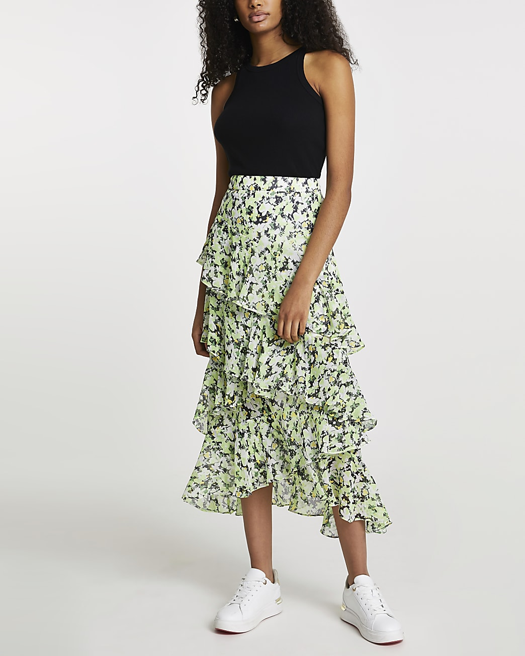 Green floral ruffle maxi skirt