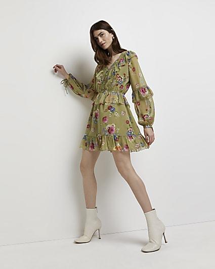 Green floral ruffled mini dress