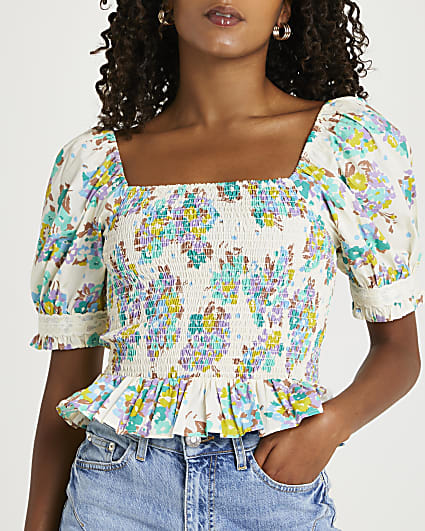 Green floral shirred frill detail top