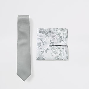 Green floral tie and handkerchief set