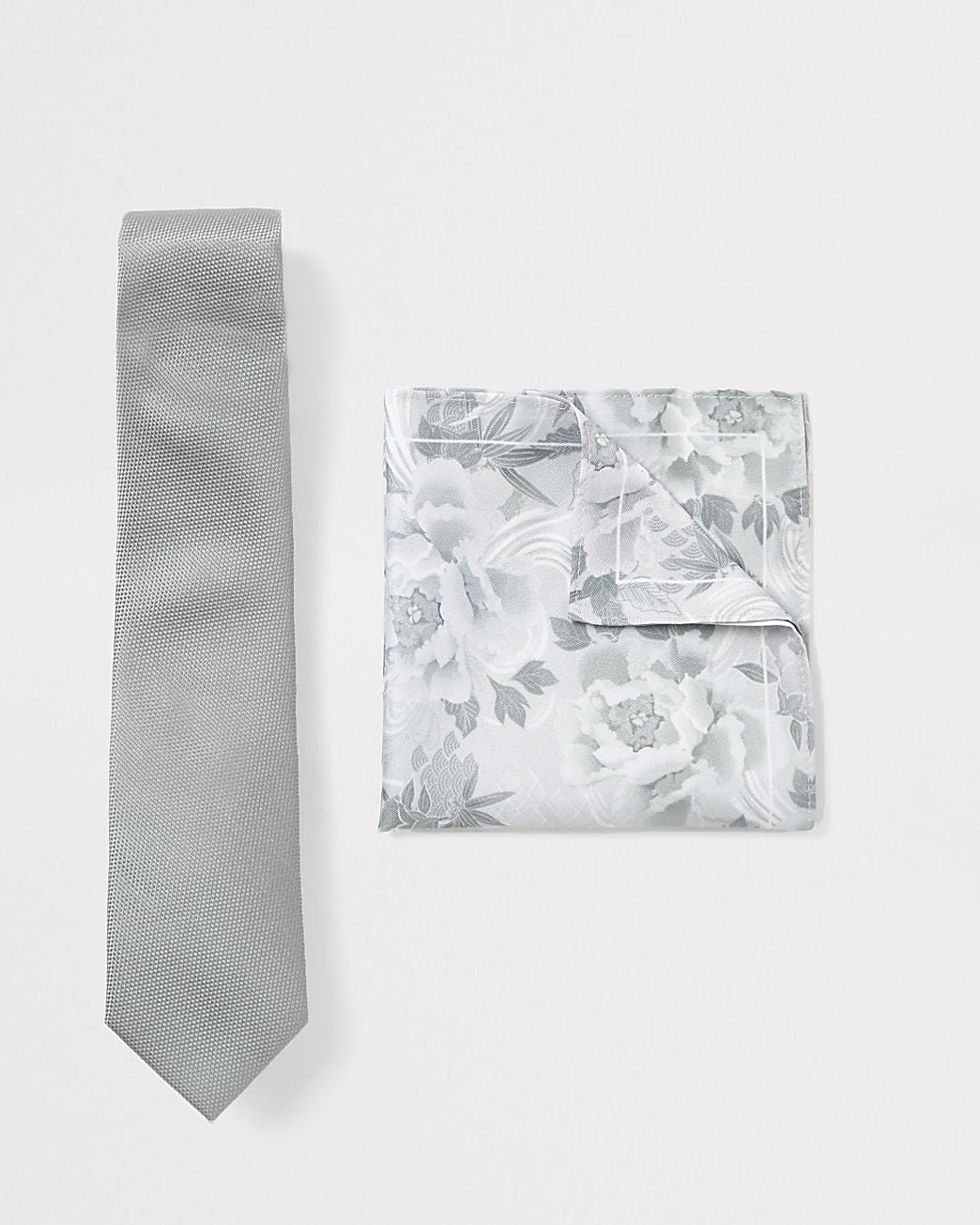 Green floral tie and handkerchief set