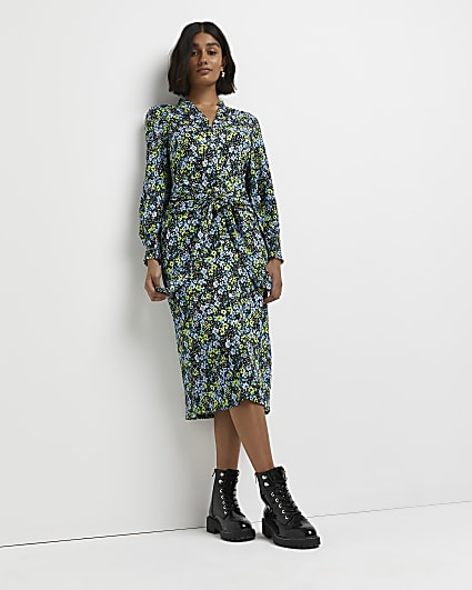 Green floral tie front midi dress