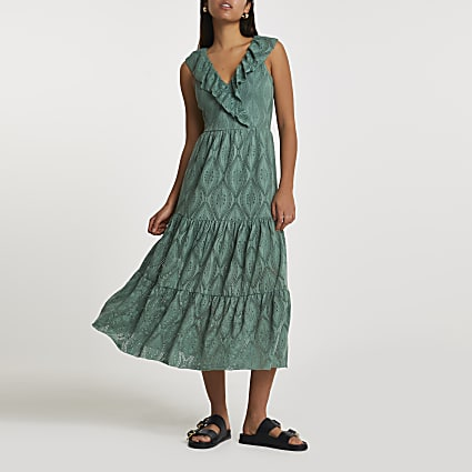Green frill broidery smock midi dress