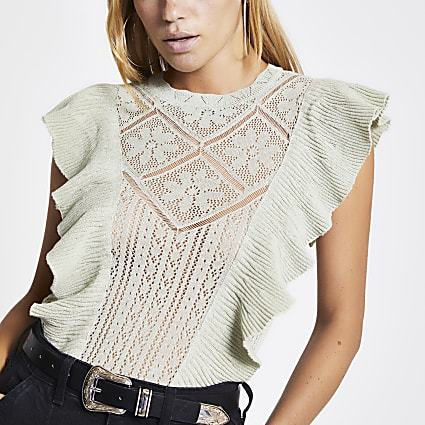 Green frill front lace knitted top