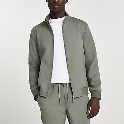 Green funnel neck jacket