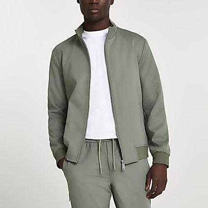 Green funnel neck jacket