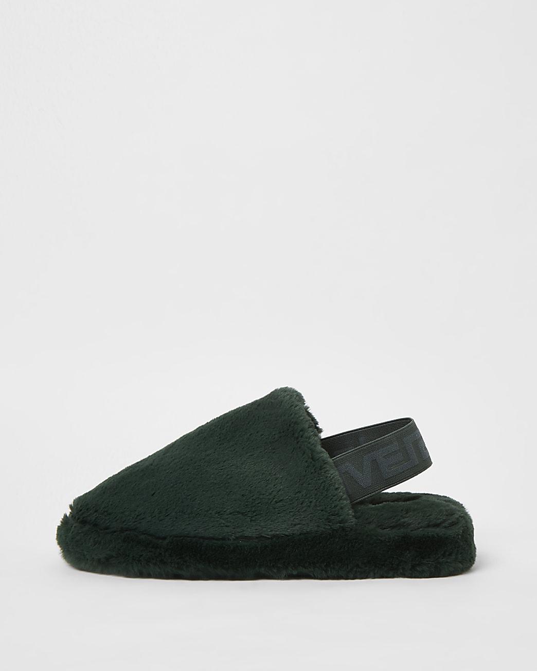 Green fur back strap mule slippers