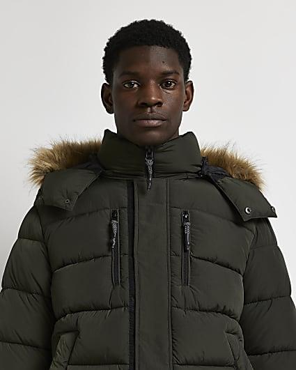Green fur trim short puffer jacket