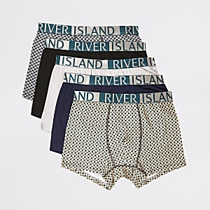 Green geo printed RI trunks 5 pack