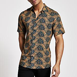 Groen slim-fit overhemd met geometrische print en korte mouwen