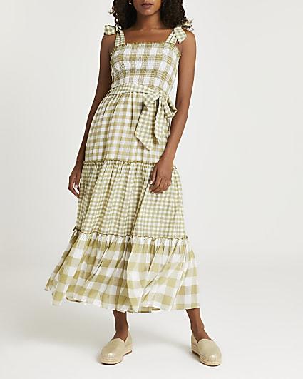 Green gingham shirred maxi dress