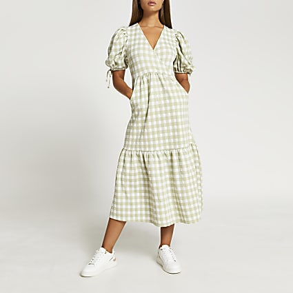 Green gingham tie sleeve midi dress