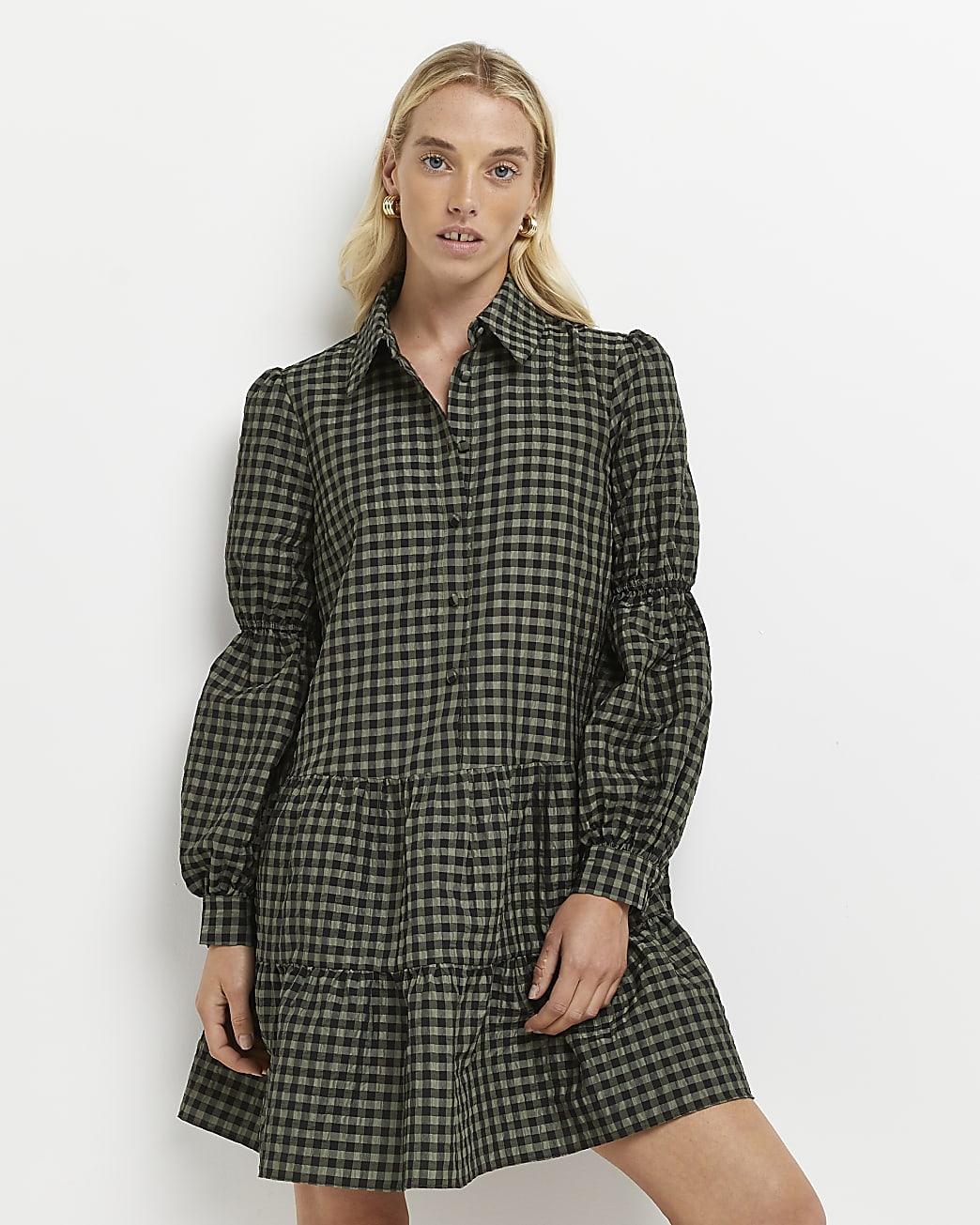 Green gingham tiered mini dress