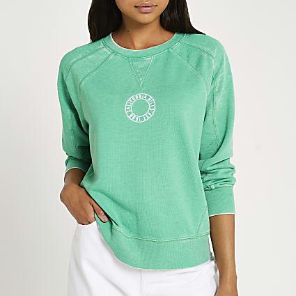 Green graphic burnout sweatshirt