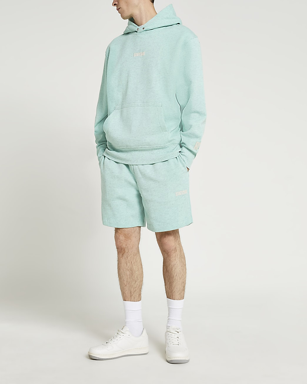 Green graphic elasticated waist shorts