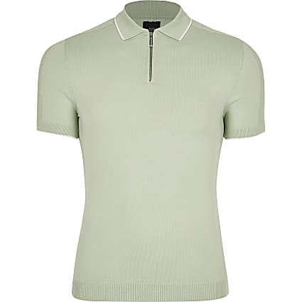 Green half zip muscle fit knitted polo top