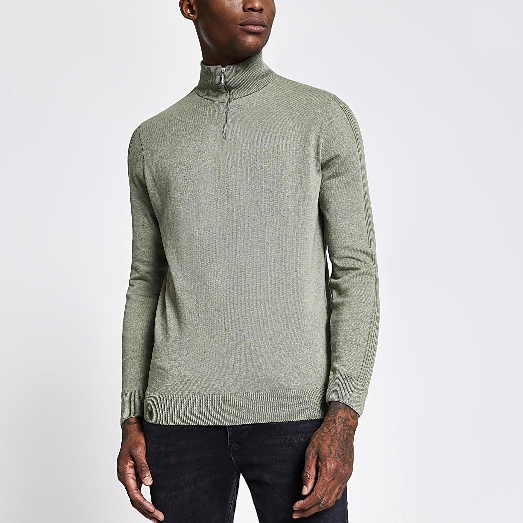 Groene gebreide slim-fit trui met halve ritssluiting