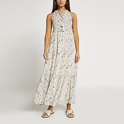 Green halter floral maxi dress