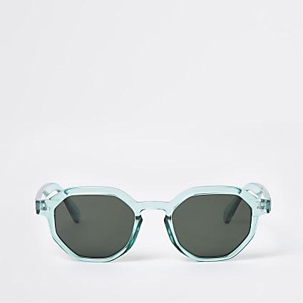 Green hexagon retro sunglasses