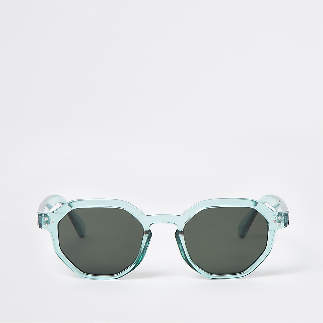 Green hexagon retro sunglasses