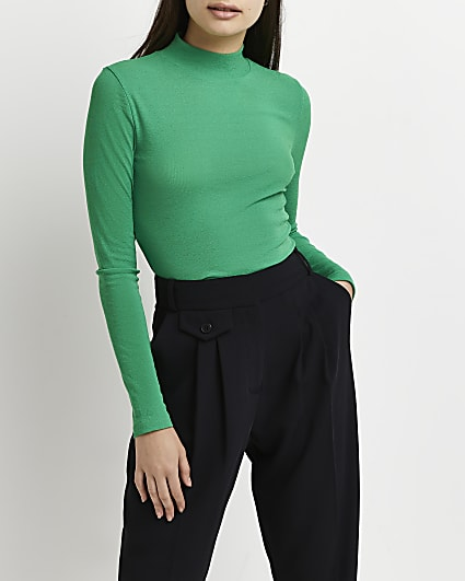 Green high neck fitted top