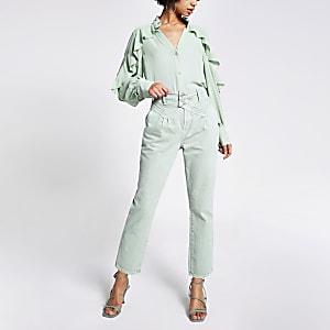 Groene smaltoelopende jeans met hoge taille