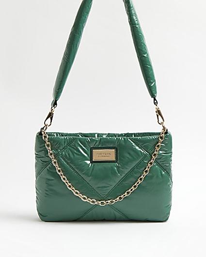 Green high shine quilted shoulder bag