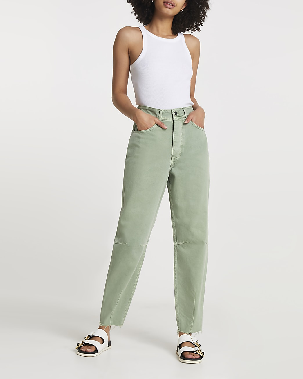 Green high waisted tapered jean