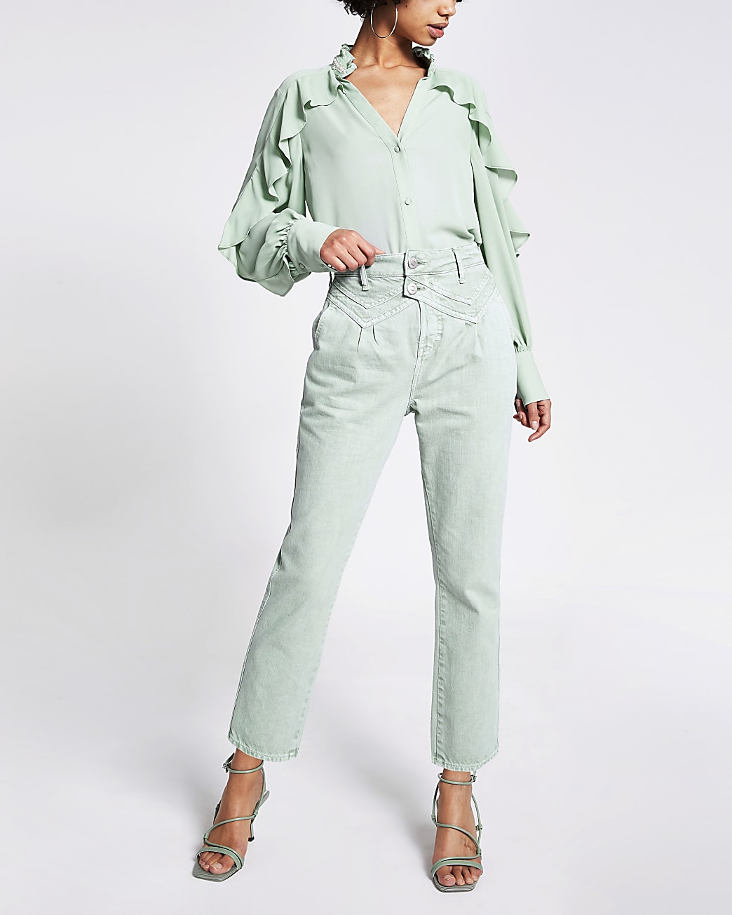 Green high waisted tapered leg jeans
