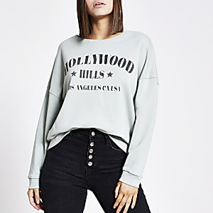 Groene sweater met 'Hollywood hills'-print