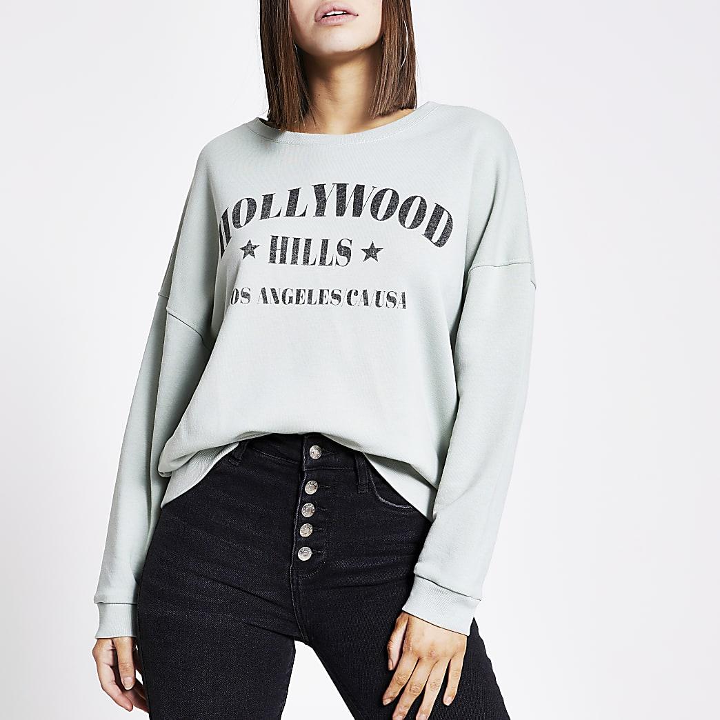 Groene sweater met 'Hollywood hills'-print
