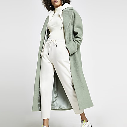 Green hoody long line double breasted coat