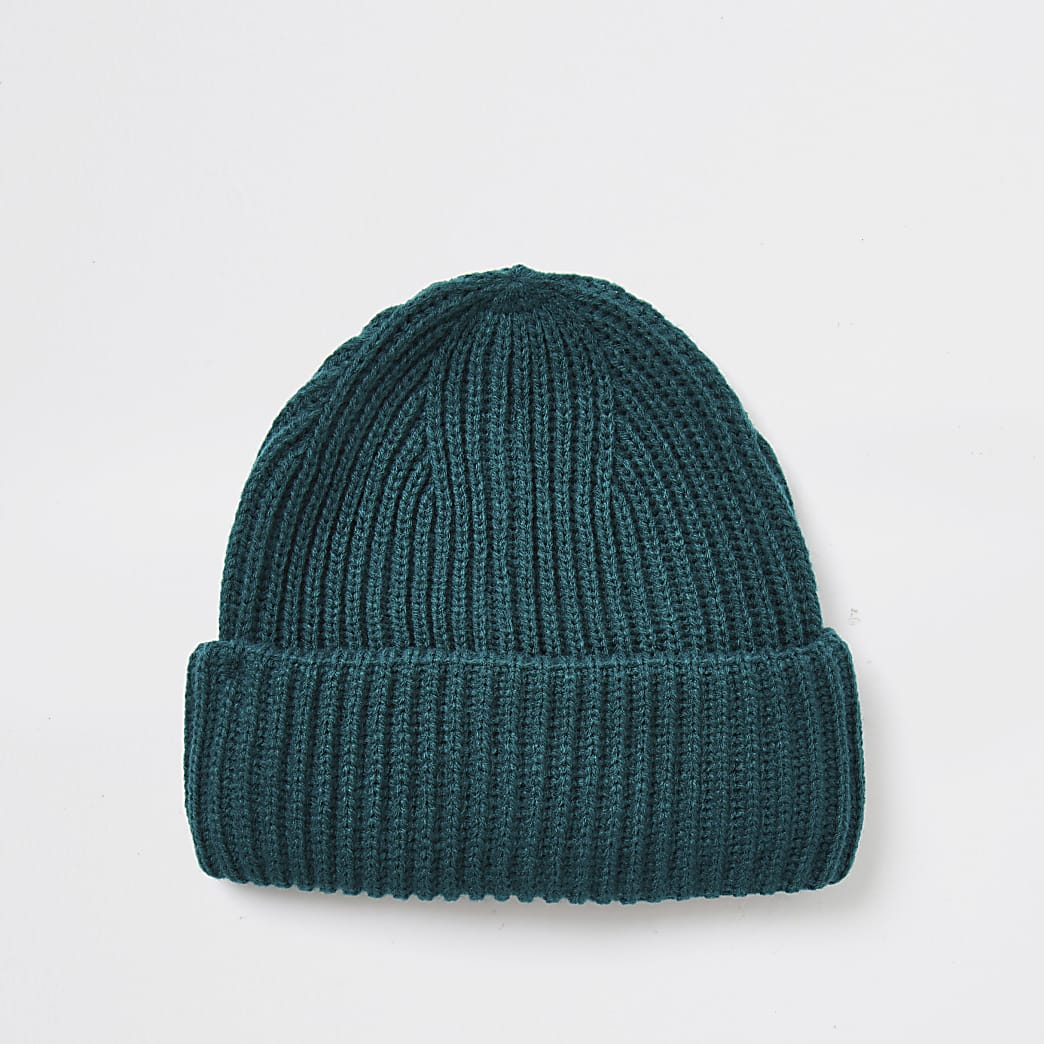 Green knitted fisherman beanie hat