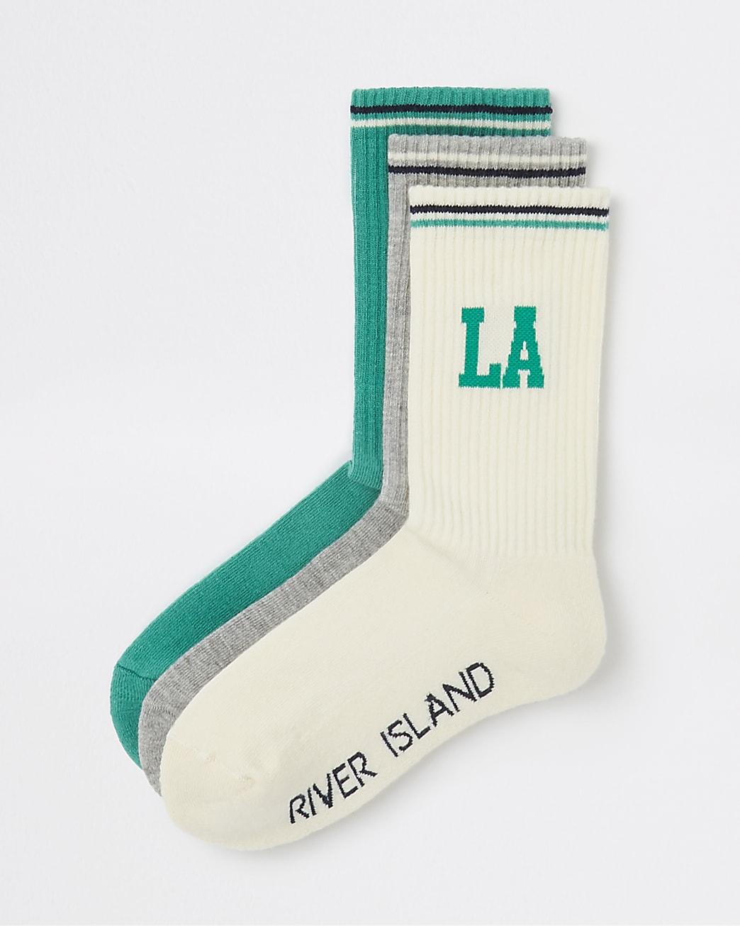 Green LA print tube socks 3 pack