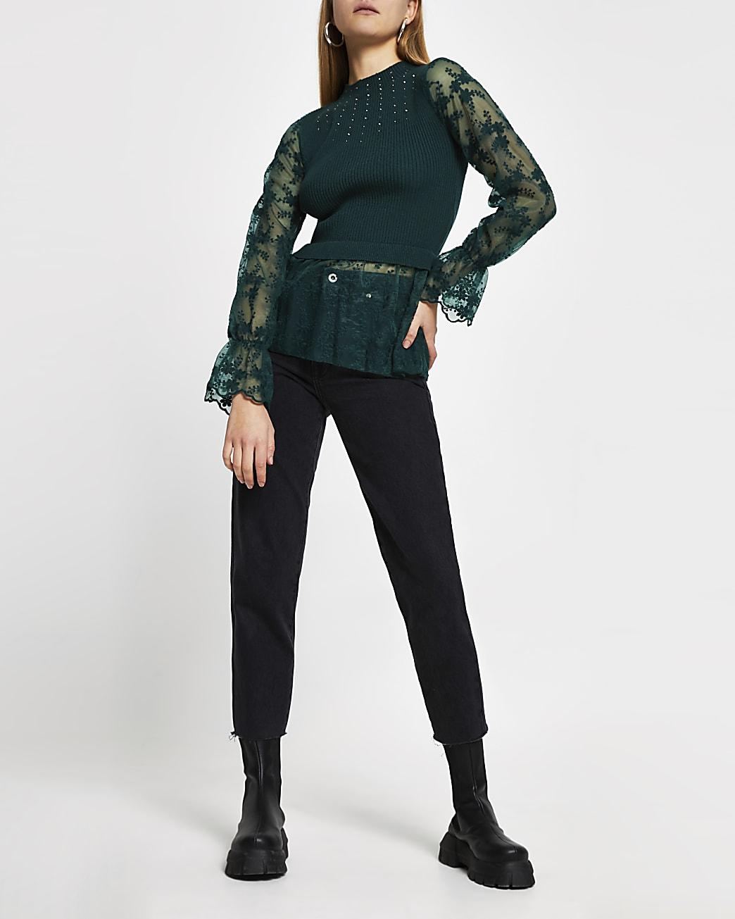 Green lace embellished hybrid top
