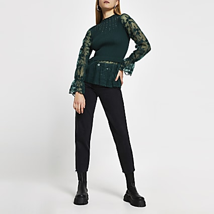 Green lace embellished hybrid top