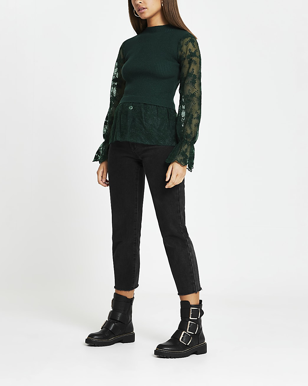 Green lace knit long sleeve top