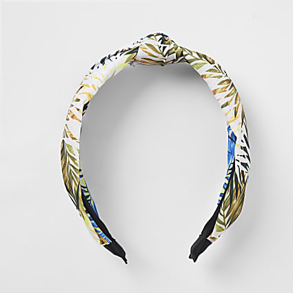 Green leaf print knot headband