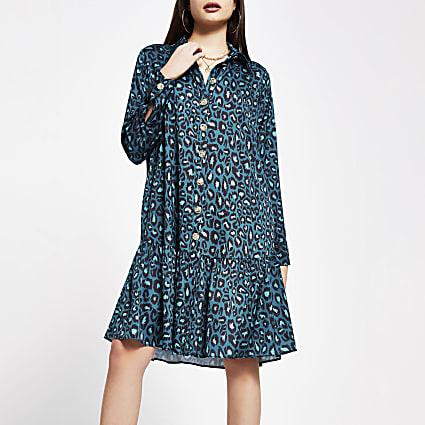 Green Leopard Print Peplum Hem Shirt Dress