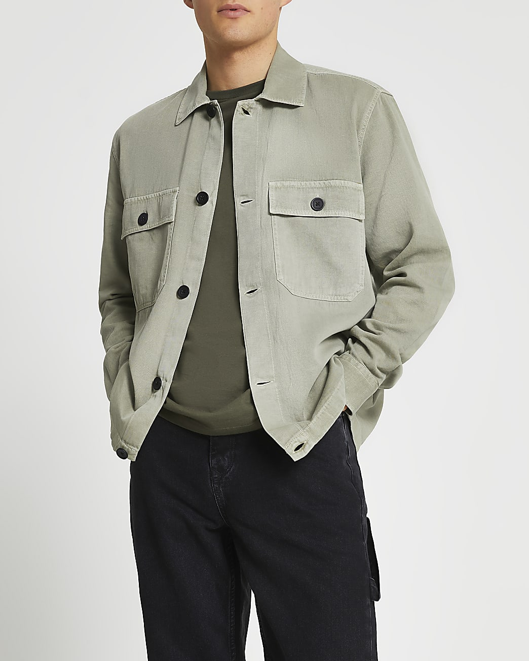 Green linen button shacket