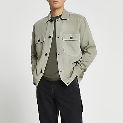 Green linen button shacket