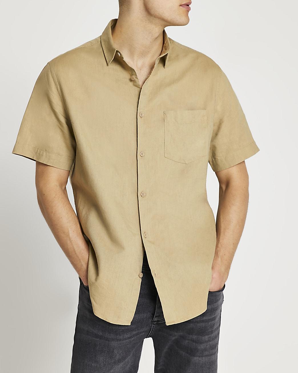 Green linen regular fit short sleeve shirt