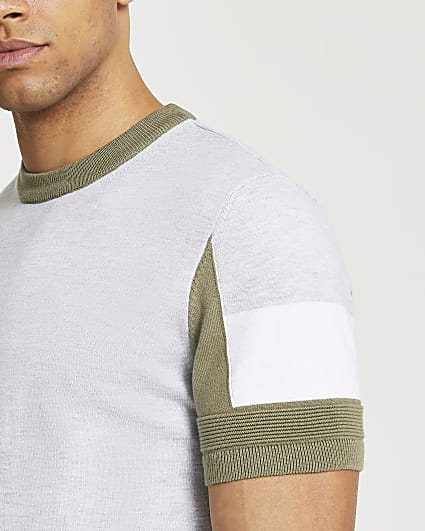 Green locked slim fit knitted t-shirt