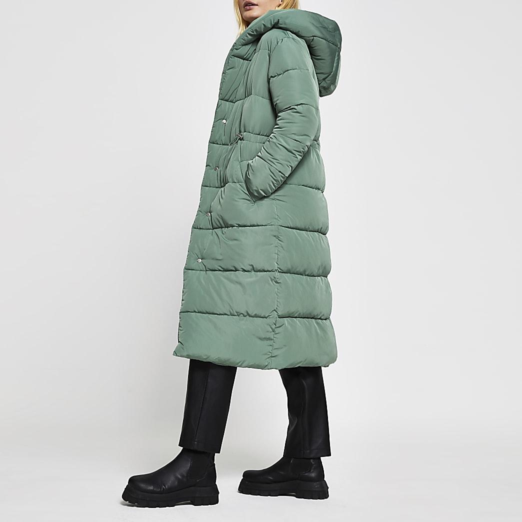 Green long line shawl collar puffer coat