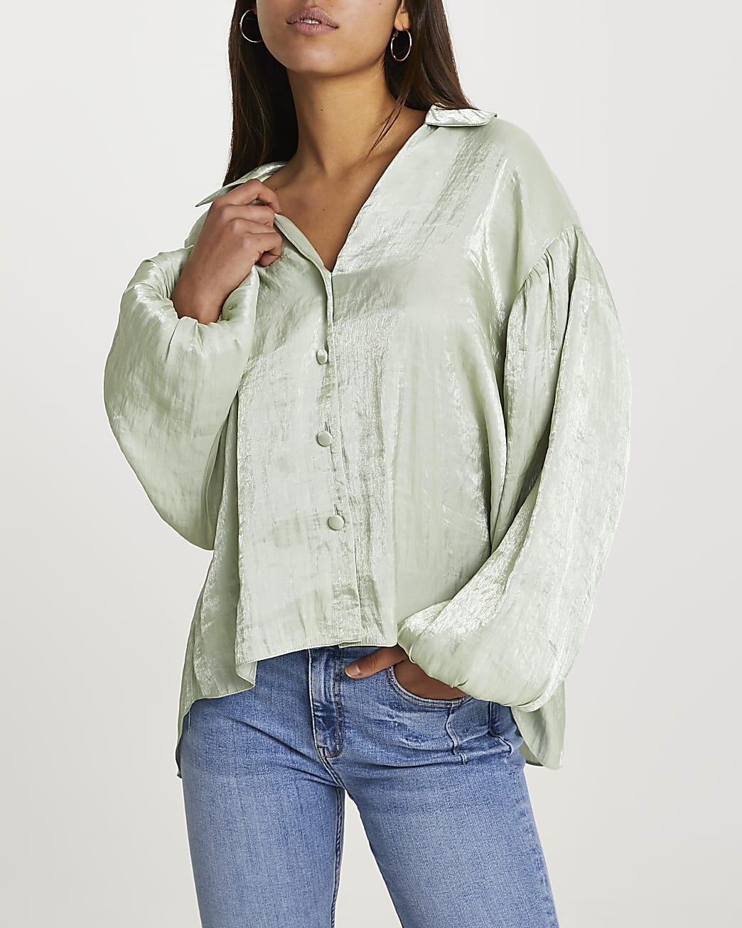 Green long puff sleeve shirt