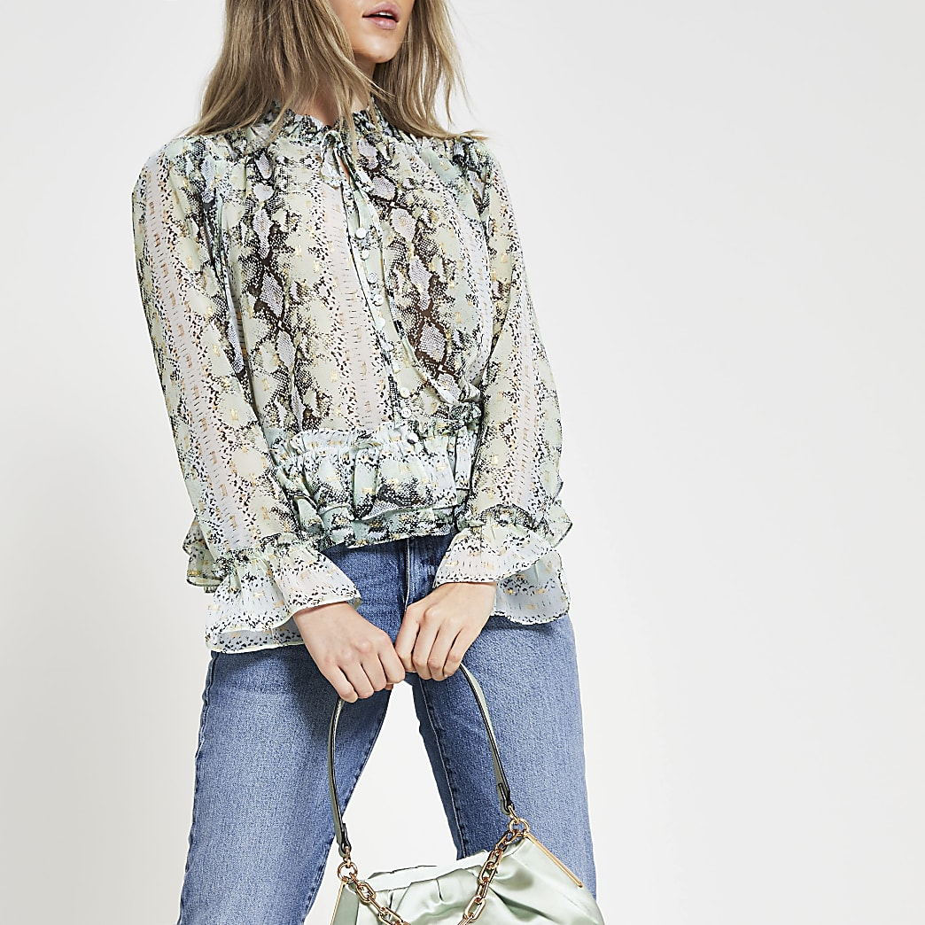 Green long sleeve animal print blouse